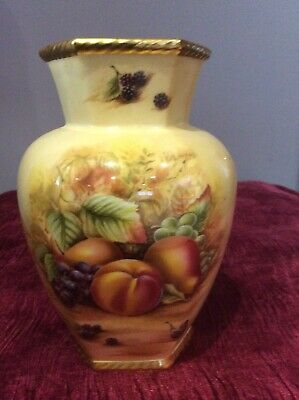 Orchard Gold By Aynsley Hexagonal Vase 7 Inches High • 12£