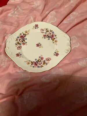 Royal Sutherland Bone China Cake Plate Pink Flower Design.   C22 • 3.20£