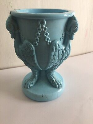 Edward Moore Antique Victorian Blue Milk Glass Griffin Or Chained Swan Vase. • 0.99£