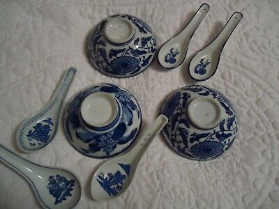 3 Chinese Soup Bowls And 5 Soup Spoons  • 1.90£
