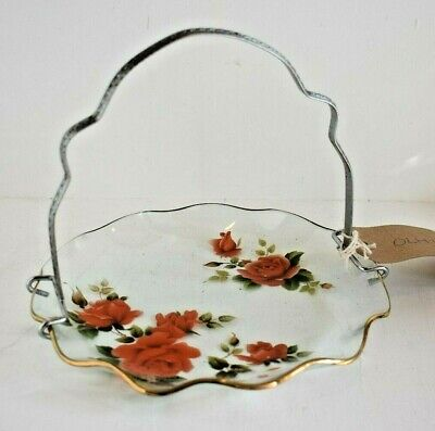 Chance Glass Red Roses And Carry Handle Plate Cake Stand  • 5£