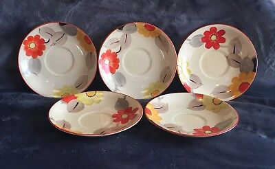Grays Pottery Five Hand Painted Floral Art Deco Saucers!!WOW!! Susie Cooper ? • 12£