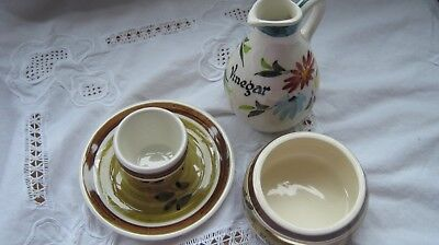 Toni Raymond Pottery Vinegar Jug/egg Separator/egg Cup With Attached Saucer • 6.99£