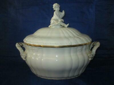 KPM (Berlin) Rocaille Pattern Oval Lidded Tureen, White With Gilt Highlights • 195£