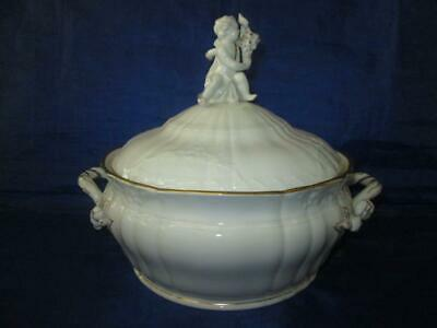 KPM (Berlin) Rocaille Pattern Round Lidded Tureen, White With Gilt Highlights • 195£