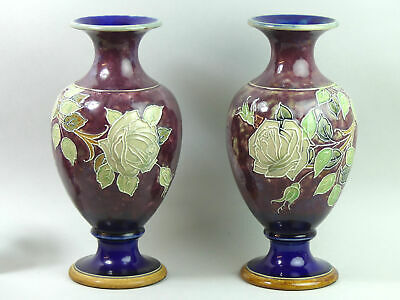 A Large Pair Of Royal Doulton Pottery Vases C.1900 • 223£
