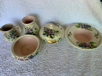 1950s Axe Vale Pottery - Hand-painted Violets Job-lot Of 5 Items • 20£