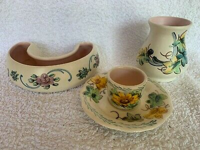 1950s Axe Vale Pottery Hand-painted Daisies And Roses - Job-lot Of 3 Items • 15£
