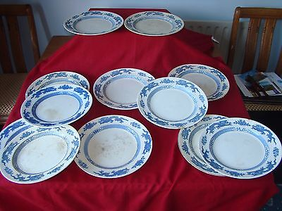 12 Victorian Blue Flow China Dinner Plates Some Booths Silicon China • 12£