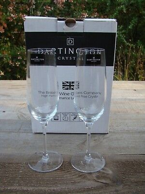 Boxed Dartington Tall Clear Lead Crystal Glass Champagne Flutes Glasses • 14£