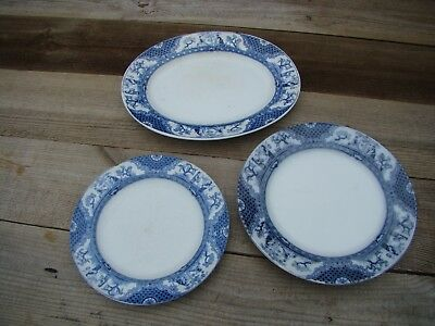 Adderleys & Co Nankin Blue Flow 3 Plates / Platters England Registered Design • 18£