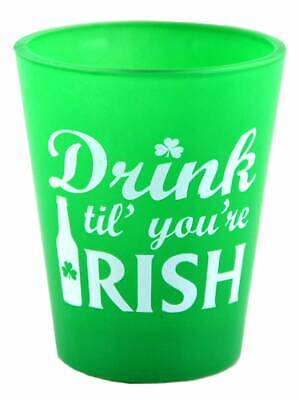Green Ireland Shot Glass With Drink Til' You'Re Irish Print Design • 2.23£