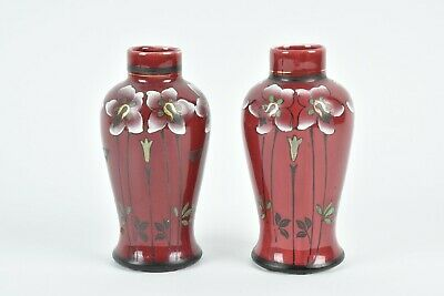 Pair Of Small Frederick Rhead Wood & Sons Orion Ware Vases • 69£