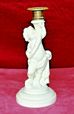 Antique Victorian Copeland Porcelain Robed Cherub Single Candlestick • 75£