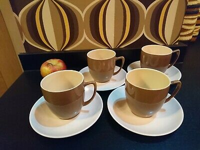 Branksome China Pottery Two Tone Brown & Mushroom 4 Coffee / Tea Cups And Saucer • 12£