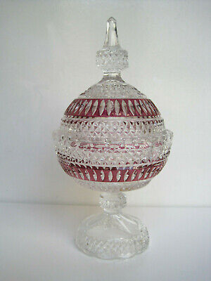 Antique Glass Bonbon Jar And Lid With Cranberry Colour Overlay Decoration • 10£