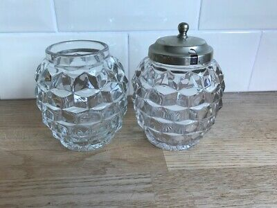 Great Set Of 2 Honey Jars Candy Pots Fostoria American Clear Cubed Glass  • 48.99£