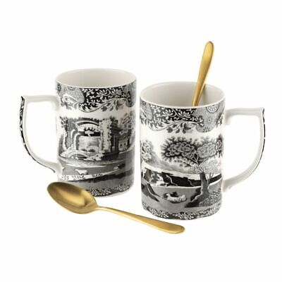 Spode Black Italian Mugs With Spoons Set Of 2 - Limited Edition • 47.50£