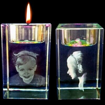 Personalised 3D Laser  Etched CRYSTAL GLASS BLOCK GIFT Candle Holder • 39.95£