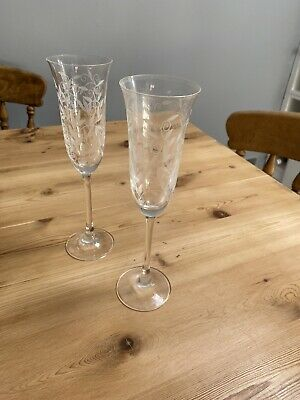 Two Old Laura Ashley Etched Champagne Flutes • 2£