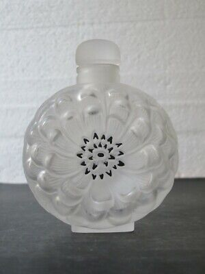 """Lalique """"Dahlia"""" Perfume Bottle With Stopper Etched Signed • 21£"""