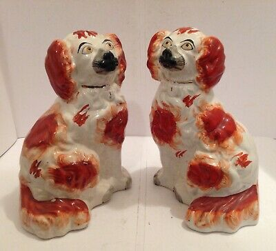 Victorian Pair Of Staffordshire Pottery Comforter Spaniels • 95£
