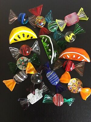 MURANO GLASS Vintage Original Multicoloured Sweets & Fruit 17 Pieces Hand Blown • 22£