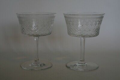 Pair Of Larger Pall Mall Wheel Cut & Cut Champagne / Cocktail Glasses / Coupes • 8.95£