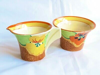 Clarice Cliff Nasturtium Daffodil Milk Jug Sugar Bowl Art Deco 1930s Originals • 55£