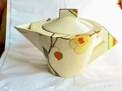 Clarice Cliff Yellow Rose Conical Teapot Antique Original 1930s Art Deco Vgc • 125£