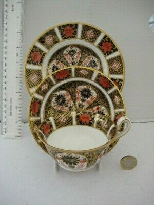 Rare Vintage Royal Crown Derby 1128 Old Imari Trio Footed Cup Saucer And Plate • 139.99£
