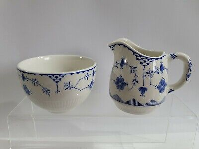 Vintage Johnson Brothers Mason's Blue Denmark Sugar Bowl & Milk Jug • 4.99£