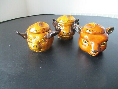 Vintage Szeiler X 3 Ceramic Beef  Mutton Pork Dripping Pots With Lids  • 15£
