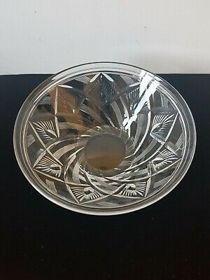 Stuart Crystal Clear Etched Glass Fruit Bowl 8.5  Heavy    2  • 10£