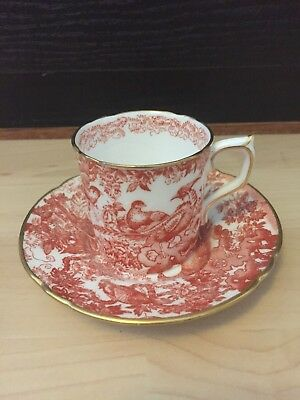 ROYAL CROWN DERBY 'Red Aves' Cup & Saucer  • 20.99£