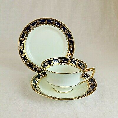 Aynsley Cobalt And Gold Tea Trio Pattern 3130 Antique • 35£