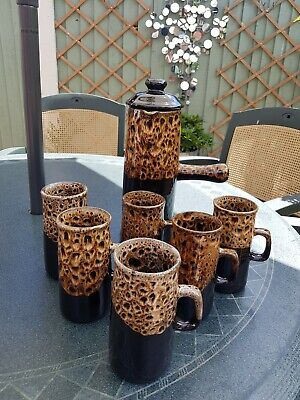 Vintage Devon Pottery Brown Tall Coffee Pot  6 Cups Tall Mugs Gorgeous Vgc  • 25£