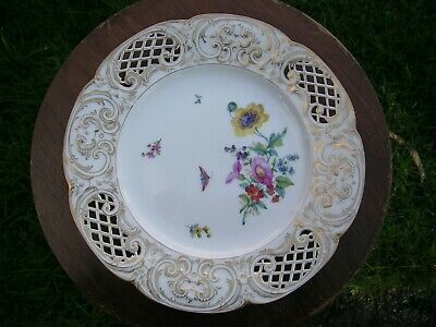 KPM Berlin 9  Plate Hand Painted Reticulated Flowers And Insects. Excellent Cond • 99£