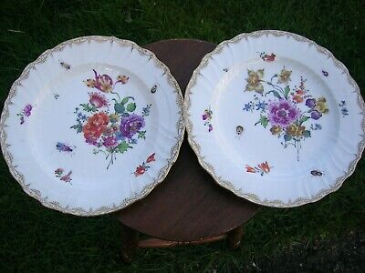 2 Antique KPM Berlin Plates Hand Painted Flowers And Insects. Circa 1790's • 490£