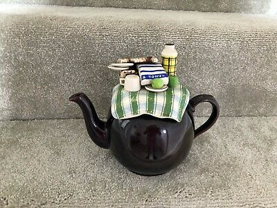 Collectable Novelty Large Brown Betty Teapot - Summer Picnic - Immaculate • 24.99£