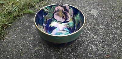 Maling Pottery Pansy Pattern Blue Gold Gilded Bowl 3.5  • 85£