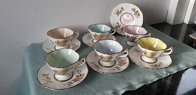 Hammersley Harlequin Gold Gilded Porcelain China Coffee Cups & Saucers Set 6 • 249.99£