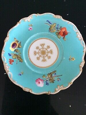 """Pretty Victorian Turquoise Floral Display Plate - 7"""" Diameter  • 28£"""
