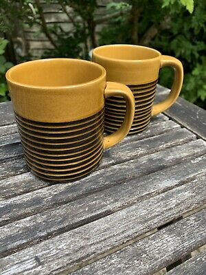2 X Vintage 1960's T G Green Mugs Channel Isles Sark Honey/Black Large Size • 22.50£