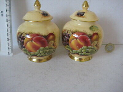 Rare Vintage Aynsley Orchard Gold Pair Of Lidded Pots • 39.99£