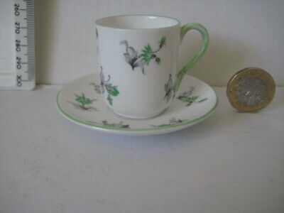 Vintage  Shelley China England Miniature Cup Saucer Green • 49.99£