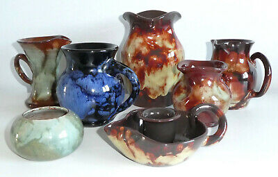 Collection Of 7 Ewenny Art Pottery Pieces - Ewenni Blue Mug, Vase, Jugs • 18.99£