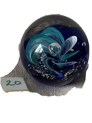Glass Paperweight  Blue And Turquoise Swirl  Pattern  (20) • 5.50£