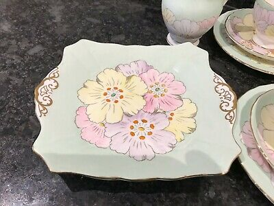 Plant Tuscan China Cake Plate Mint Green Florals - Vintage Teaset • 15£