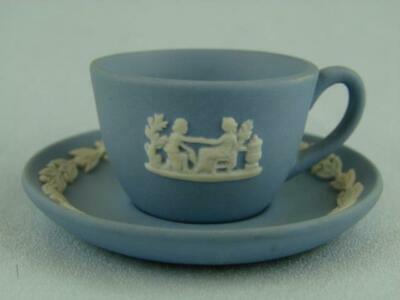 Gorgeous Miniature Wedgwood Blue Jasperware Cup And Saucer • 22£